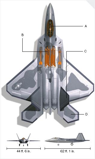 Az F-22 háromnézeti rajza a fegyverkamrákkal. A: pilótafülke; B: bombakamrák; C: függőleges vezérsík; D: vízszintes vezérsík